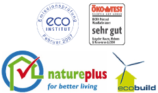 Labels : Vibe, eco-institut, ôko test, nature-plus, eco build